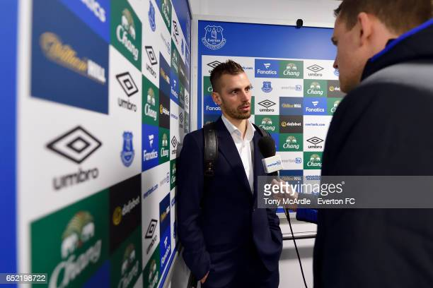 Morgan Schneiderlin speaks to the media after the Premier League match between Everton and West Bromwich Albion at the Goodison Park on March 11 2017...
