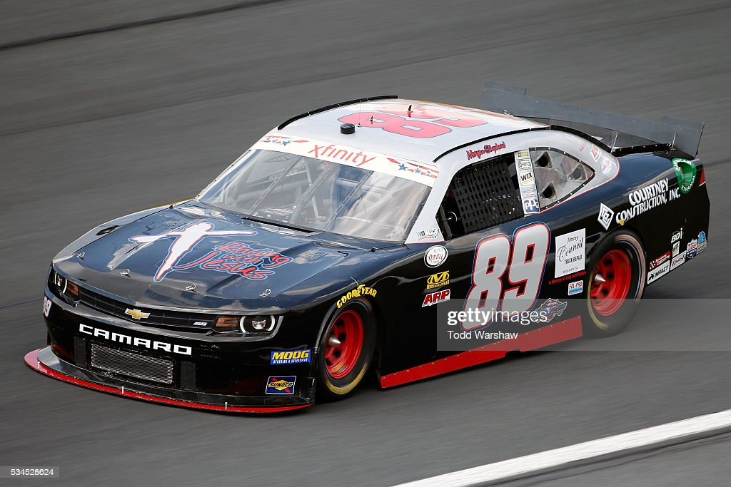 <a gi-track='captionPersonalityLinkClicked' href=/galleries/search?phrase=Morgan+Shepherd&family=editorial&specificpeople=561623 ng-click='$event.stopPropagation()'>Morgan Shepherd</a>, driver of the #89 Chevrolet, drives during practice for the NASCAR XFINITY Series Hisense 4K TV 300 at Charlotte Motor Speedway on May 27, 2016 in Charlotte, North Carolina.