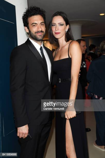 Morgan Spector and Rebecca Hall attend the 'Hollywood Foreign Press Association Cocktail Party' during the 74th Venice Film Festival on September 2...