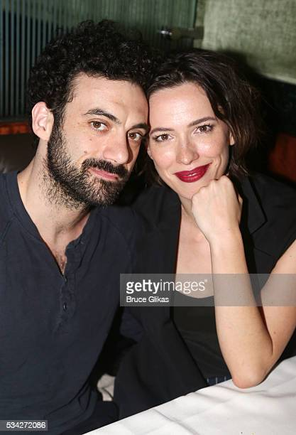 Morgan Spector and wife Rebecca Hall pose at The Opening Night of MTC's 'Incognito' at Brasserie 8 1/2 on May 24 2016 in New York City