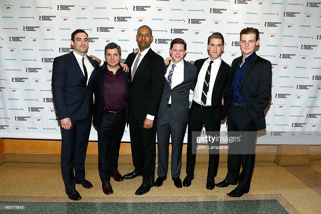 Morgan Spector, Damian Balder, Dion Graham, Ryan Dinning, and Jason Loughlin attend the Broadway opening night of 'Machinal' at American Airlines Theatre on January 16, 2014 in New York, New York.
