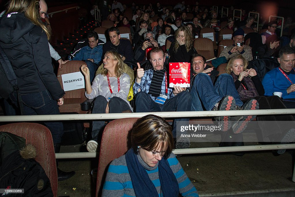 Morgan Sperlock (C) attends GE/Focus Forward Special Screening - 2013 Park City on January 22, 2013 in Park City, Utah.