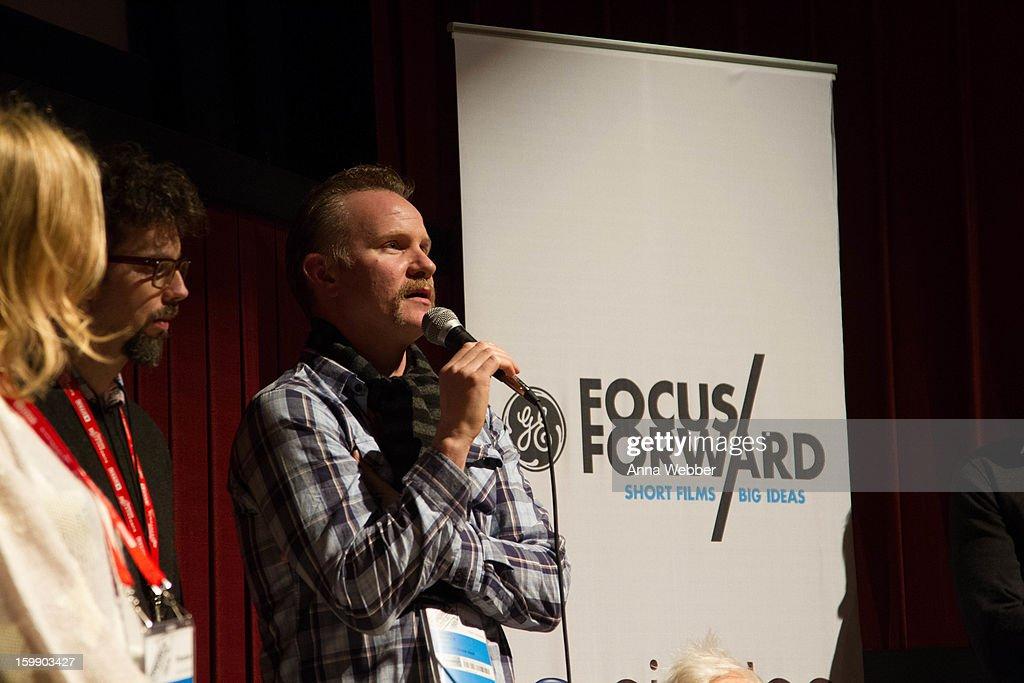 Morgan Sperlock (C) attends GE/Focus Forward Special Screening - 2013 Park City on January 22, 2013 in Park City, Utah.