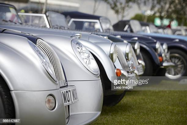 Morgan sports cars classic and new on display at Silverstone Classic an annual 3 day weekend classic motor racing festival with a wide range of...