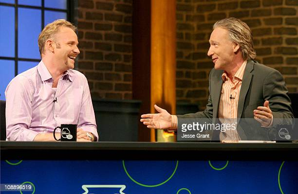 Morgan Spurlock and Bill Maher during Amazoncom 'Fishbowl with Bill Maher' Morgan Spurlock July 13 2006 at VPS Studios in Hollywood California United...
