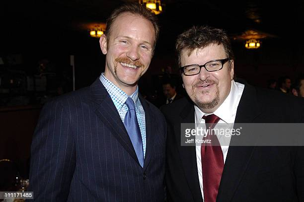 Morgan Spurlock and Michael Moore during 10th Annual Critics' Choice Awards Audience and Backstage at Wiltern LG Theater in Los Angeles California...