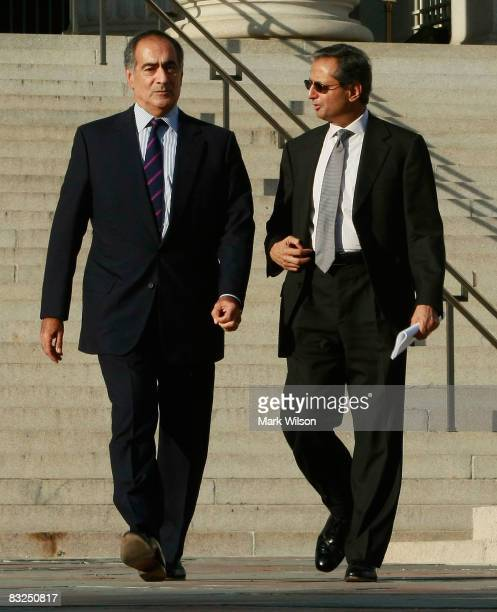 Morgan Stanley CEO John Mack and Citigroup CEO Vikram Pandit leave a meeting at the Treasury Department October 13 2008 in Washington DC US Treasury...