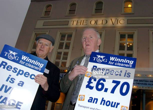 Morgan Stanley cleaners protest against their low wage outside The Old Vic Theatre The Investment Bank currently sponsor the theatre but the cleaners...