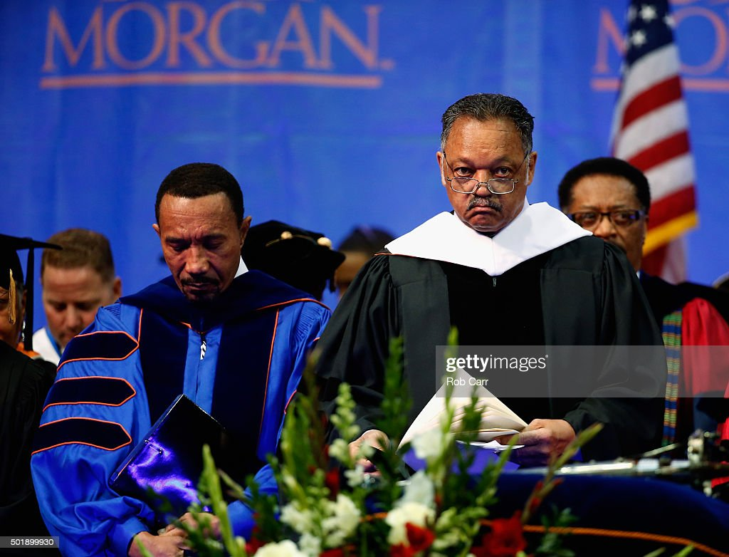 Morgan State University Board of Regents Chairman Kweisi Mfume and the Rev Jesse Jackson talk before Jackson gave the commencement address at Morgan...