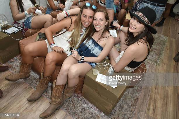 Morgan Steinfeld Haley Sanchez and Kyley Philbin attend Estee Lauder @ Stagecoach Festival on April 28 2017 in Indio California