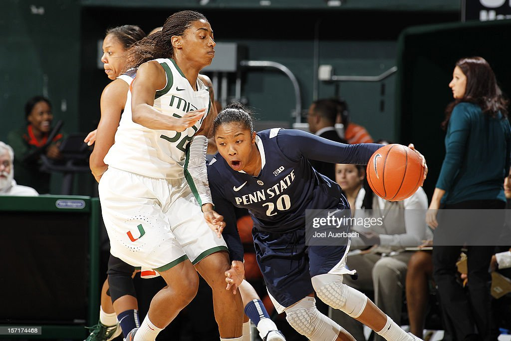 Morgan Stroman #32 of the Miami Hurricanes defends against Alex Bentley #20 of the Penn State Lady Lions on November 29, 2012 at the BankUnited Center in Coral Gables, Florida.
