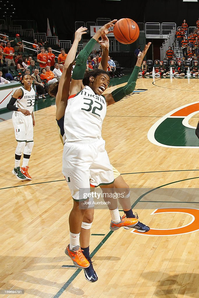 Morgan Stroman #32 of the Miami Hurricanes is fouled as she goes up for a rebound against the Georgia Tech Yellow Jackets on January 17, 2013 at the BankUnited Center in Coral Gables, Florida. Miami defeated Georgia Tech 71-65.