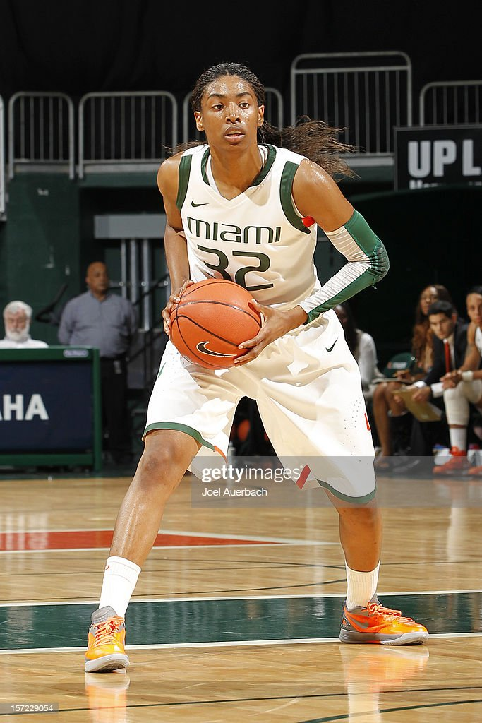 Morgan Stroman #32 of the Miami Hurricanes looks to pass the ball against the Penn State Lady Lions on November 29, 2012 at the BankUnited Center in Coral Gables, Florida. Miami defeated Penn State 69-65.