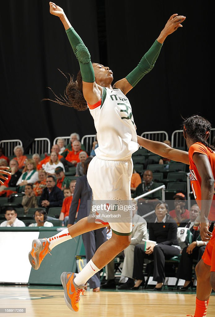 Morgan Stroman #32 of the Miami Hurricanes loses the ball as she goes to the basket against the Clemson Lady Tigers on January 3, 2013 at the BankUnited Center in Coral Gables, Florida.