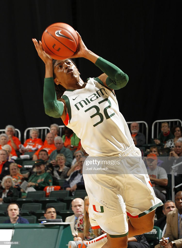 Morgan Stroman #32 of the Miami Hurricanes takes an unbalanced shot against the Georgia Tech Yellow Jackets on January 17, 2013 at the BankUnited Center in Coral Gables, Florida.