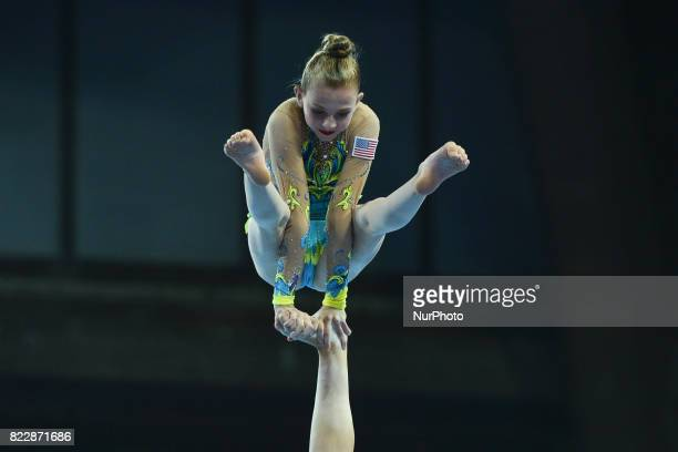 Morgan Sweeney from Team USA in action during Women's Groups AllAround Final Exercise of The World Games 2017 at the National Forum of Music On...