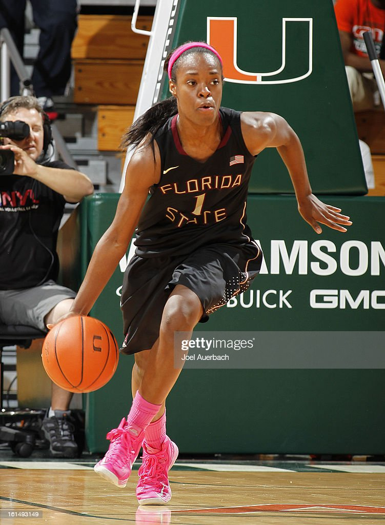 Morgan Toles #1 of the Florida State Seminoles dribbles the ball up court against the Miami Hurricanes on February 10, 2013 at the BankUnited Center in Coral Gables, Florida. The Seminoles defeated the Hurricanes 93-78.