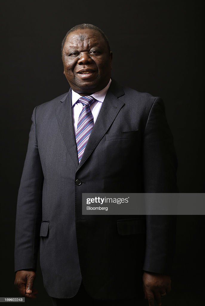 <a gi-track='captionPersonalityLinkClicked' href=/galleries/search?phrase=Morgan+Tsvangirai&family=editorial&specificpeople=800701 ng-click='$event.stopPropagation()'>Morgan Tsvangirai</a>, prime minister of Zimbabwe, poses for a photograph following a Bloomberg Television interview on the opening day of the World Economic Forum (WEF) in Davos, Switzerland, on Wednesday, Jan. 23, 2013. World leaders, Influential executives, bankers and policy makers attend the 43rd annual meeting of the World Economic Forum in Davos, the five day event runs from Jan. 23-27. Photographer: Simon Dawson/Bloomberg via Getty Images