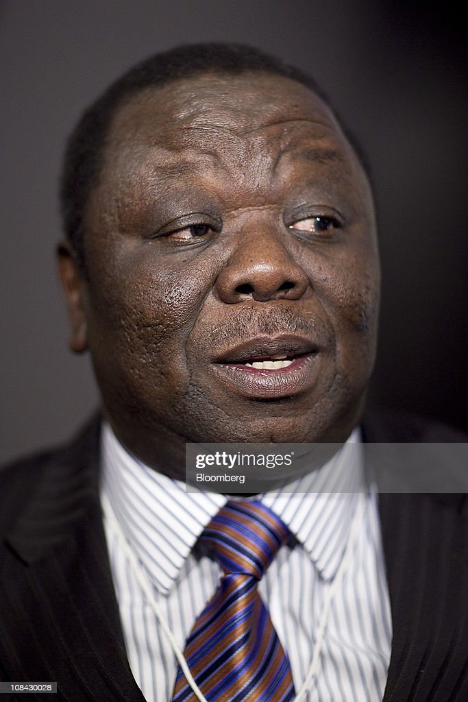 <a gi-track='captionPersonalityLinkClicked' href=/galleries/search?phrase=Morgan+Tsvangirai&family=editorial&specificpeople=800701 ng-click='$event.stopPropagation()'>Morgan Tsvangirai</a>, prime minister of Zimbabwe, speaks during an interview on the second day of the World Economic Forum (WEF) Annual Meeting 2011 in Davos, Switzerland, on Thursday, Jan. 27, 2011. The World Economic Forum in Davos will be attended by a record number of chief executive officers, with a total of 2,500 delegates attending the five-day meeting. Photographer: Andrew Harrer/Bloomberg via Getty Images