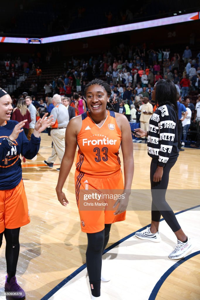 Morgan Tuck #33 of the Connecticut Sun celebrates a win against the Dallas Wings on August 12, 2017 at Mohegan Sun Arena in Uncasville, CT.
