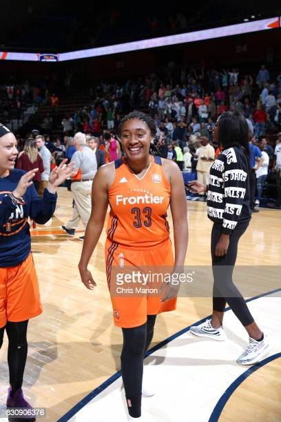 Morgan Tuck of the Connecticut Sun celebrates a win against the Dallas Wings on August 12 2017 at Mohegan Sun Arena in Uncasville CT NOTE TO USER...