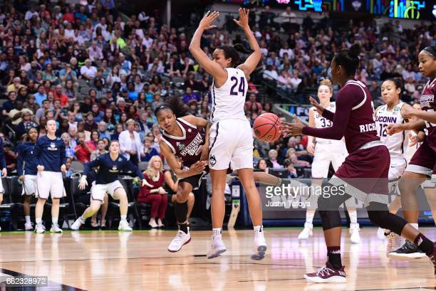 Morgan William of the Mississippi State Lady Bulldogs passes to Breanna Richardson of the Mississippi State Lady Bulldogs during the 2017 Women's...