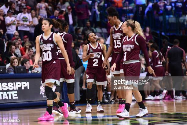 Morgan William of the Mississippi State Lady Bulldogs talks to her teammates during the 2017 NCAA Women's Final Four at American Airlines Center on...