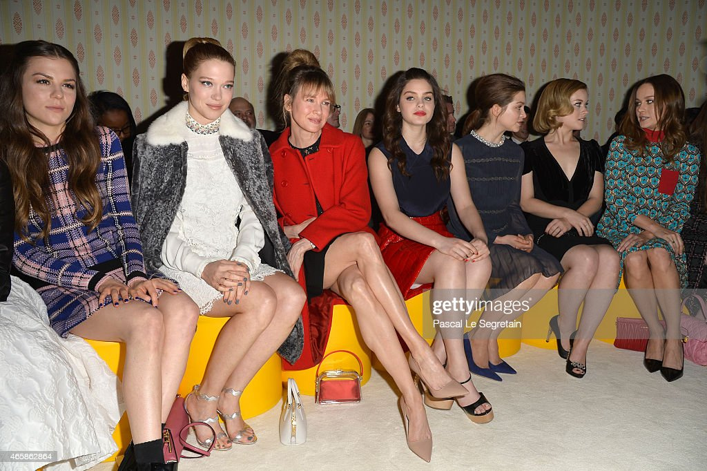 Morgane Polanski Lea Seydoux Renee Zellweger Odeya Rush Sophie Cookson Jane Levy and Brie Larson attend the Miu Miu show as part of the Paris Fashion...