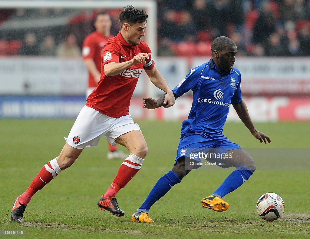 Morgaro Gomis of Birmingham holds off Johnnie Jackson of Charlton during the npower Championship match between Charlton Athletic and Birmingham City at The Valley on February 09, 2013 in London England.