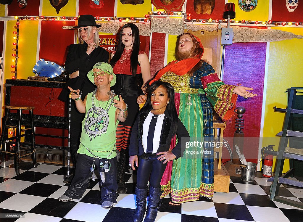 Morgue Asia Ray Wee Matt McCarthy Amazing Ali and Jessa 'The Bearded Lady' pose at AMC's 'Freakshow' cast meet and greet on May 7 2014 in Venice...