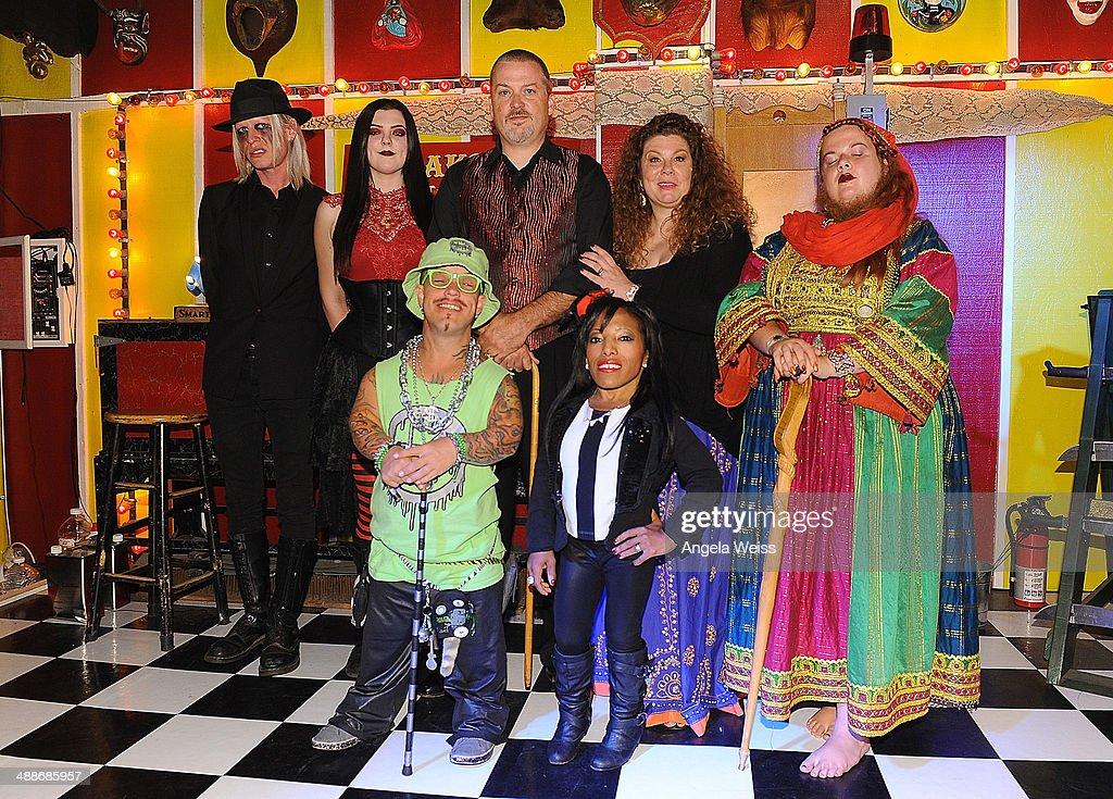 Morgue Asia Ray Wee Matt McCarthy Todd Ray Amazing Ali Danielle 'Freakshow Mama' Ray and Jessa 'The Bearded Lady' pose at AMC's 'Freakshow' cast meet...