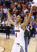 Moriah Jefferson of the Connecticut Huskies celebrates their 8251 victory over the Syracuse Orange to win the 2016 NCAA Women's Final Four Basketball...