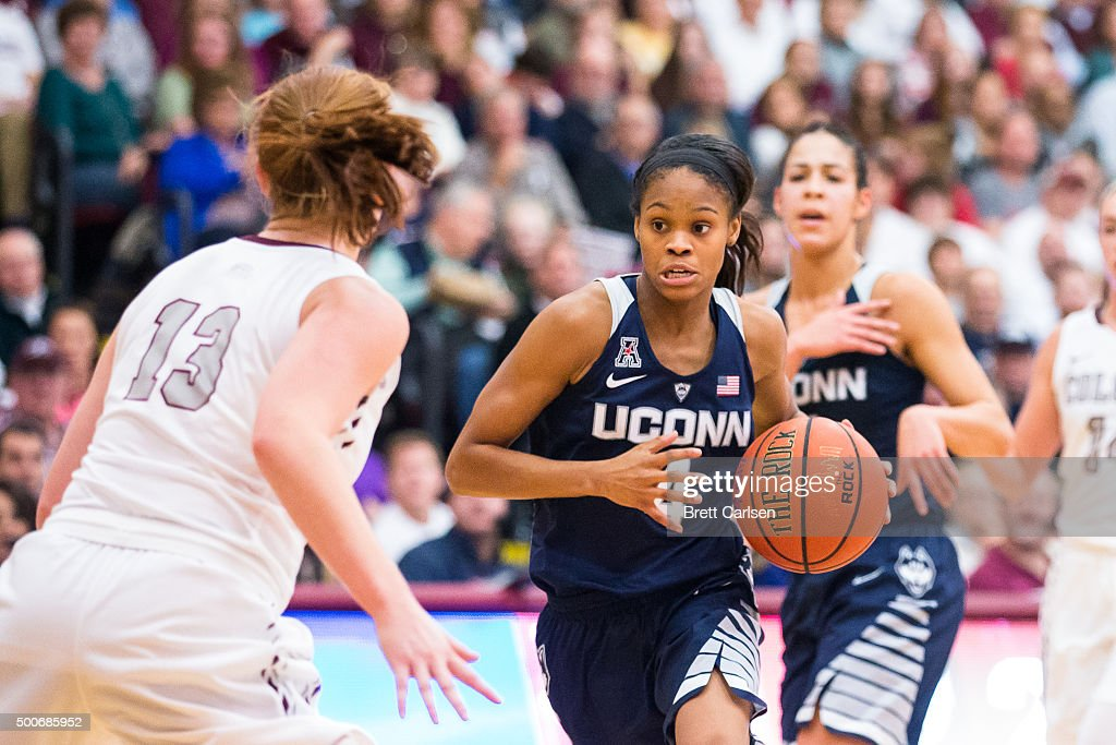 <a gi-track='captionPersonalityLinkClicked' href=/galleries/search?phrase=Moriah+Jefferson&family=editorial&specificpeople=9082577 ng-click='$event.stopPropagation()'>Moriah Jefferson</a> #4 of the Connecticut Huskies moves the ball during the second half against the Colgate Raiders on December 9, 2015 at Cotterell Court in Hamilton, New York.
