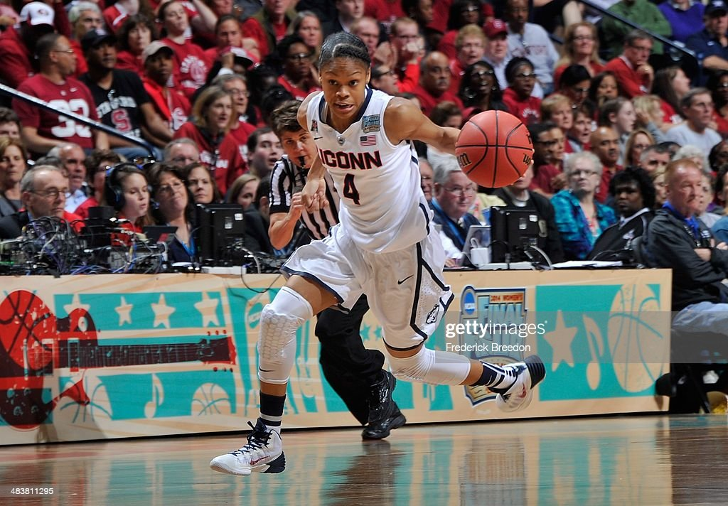 <a gi-track='captionPersonalityLinkClicked' href=/galleries/search?phrase=Moriah+Jefferson&family=editorial&specificpeople=9082577 ng-click='$event.stopPropagation()'>Moriah Jefferson</a> #4 of the Connecticut Huskies plays against the Stanford Cardinal at Bridgestone Arena on April 6, 2014 in Nashville, Tennessee.
