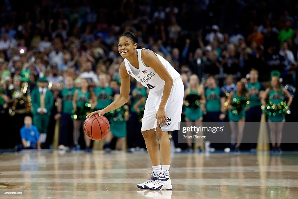 Moriah Jefferson of the Connecticut Huskies reacts as the clock winds down against the Notre Dame Fighting Irish during the NCAA Women's Final Four...