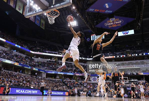 Moriah Jefferson of the Connecticut Huskies shoots against Gabriella Hanson of the Oregon State Beavers in the second quarter during the semifinals...