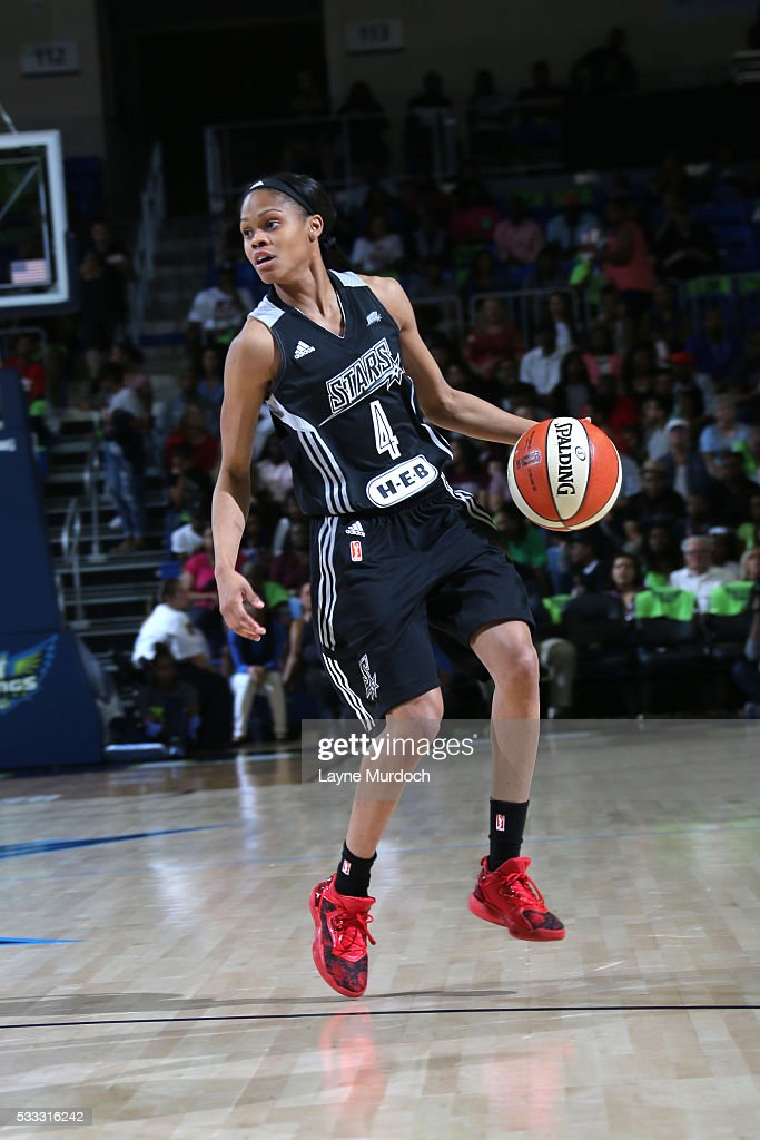 <a gi-track='captionPersonalityLinkClicked' href=/galleries/search?phrase=Moriah+Jefferson&family=editorial&specificpeople=9082577 ng-click='$event.stopPropagation()'>Moriah Jefferson</a> #4 of the San Antonio Stars dribbles the ball against the Dallas Wings on May 21, 2016 at College Park Center in Arlington, Texas.