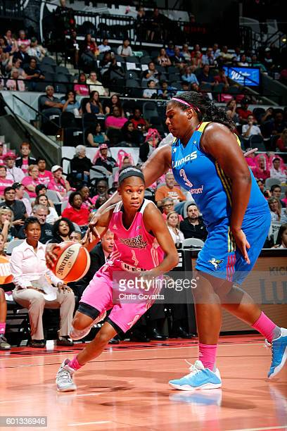 Moriah Jefferson of the San Antonio Stars drives to the basket during the game against the Dallas Wings during the WNBA game on September 9 2016 at...