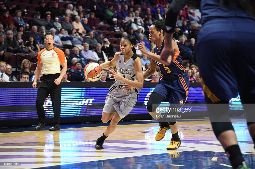 <a gi-track='captionPersonalityLinkClicked' href=/galleries/search?phrase=Moriah+Jefferson&family=editorial&specificpeople=9082577 ng-click='$event.stopPropagation()'>Moriah Jefferson</a> #4 of the San Antonio Stars handles the ball against the Connecticut Sun in a WNBA preseason game on May 5, 2016 at the Mohegan Sun Arena in Uncasville, Connecticut.