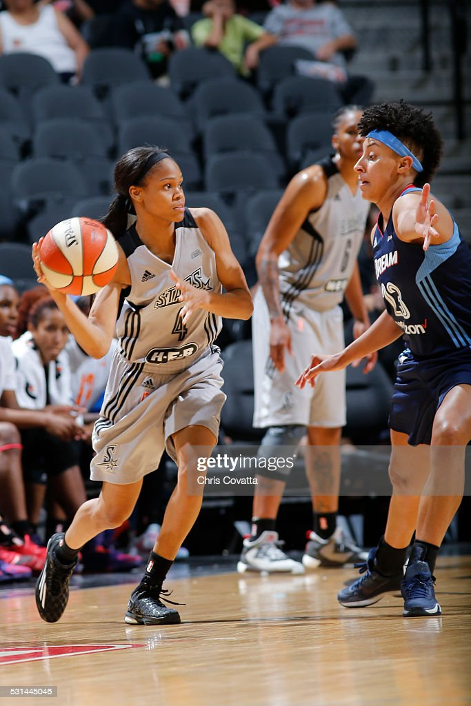 <a gi-track='captionPersonalityLinkClicked' href=/galleries/search?phrase=Moriah+Jefferson&family=editorial&specificpeople=9082577 ng-click='$event.stopPropagation()'>Moriah Jefferson</a> #4 of the San Antonio Stars moves the ball against the Atlanta Dream during the game on May 14, 2016 at AT&T Center in San Antonio, Texas.