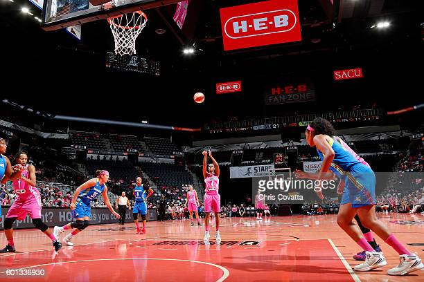 Moriah Jefferson of the San Antonio Stars shoots a free throw during the game against the Dallas Wings during the WNBA game on September 9 2016 at...
