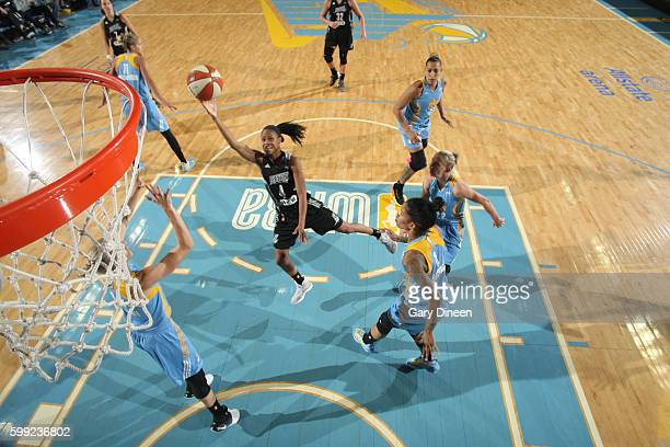 Moriah Jefferson of the San Antonio Stars shoots the ball against the Chicago Sky on September 4 2016 at Allstate Arena in Rosemont IL NOTE TO USER...