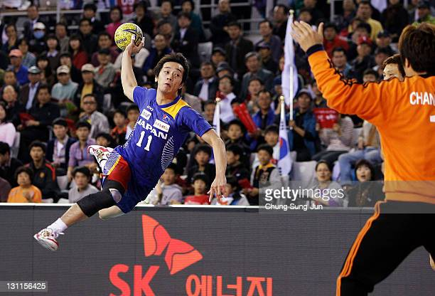 Morihide Kaido of Japan in action during the London Olympic Men's Handball Asian Qualifier Final match between Japan and South Korea at the Olympic...