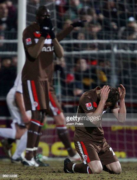 Morike Sako and Matthias Lehmann of St Pauli gesture during the Second Bundesliga match between FC St Pauli and FSV Frankfurt at the Millerntor...