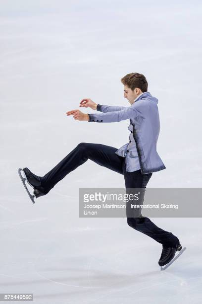 Moris Kvitelashvili of Georgia competes in the Men's Short Program during day one of the ISU Grand Prix of Figure Skating at Polesud Ice Skating Rink...
