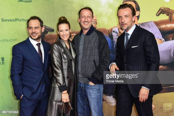 Moritz Bleibtreu Alexandra Neldel and Wotan Soenke Moehring Lucas Gregorowicz during the premiere of the film 'Lommbock' at CineStar on March 23 2017...