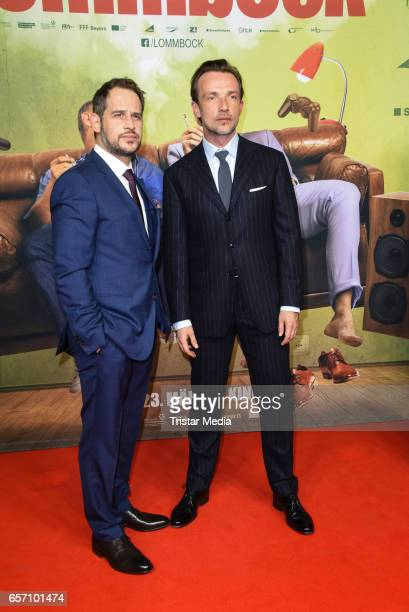 Moritz Bleibtreu and Lucas Gregorowicz during the premiere of the film 'Lommbock' at CineStar on March 23 2017 in Berlin Germany