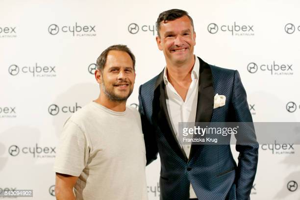 Moritz Bleibtreu and Martin Pos during the Cybex Fashion Cocktail on September 5 2017 in Berlin Germany
