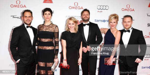 Moritz Bleibtreu Jasmin Gerat Anna Maria Muehe Peter Torwarth Nele Kiper and Axel Stein attend the German Film Ball 2014 on January 18 2014 in Munich...