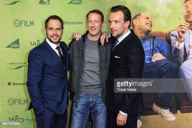 Moritz Bleibtreu Wotan Wilke Moehring and Lucas Gregorowicz during the premiere of the film 'Lommbock' at CineStar on March 23 2017 in Berlin Germany